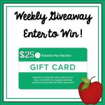 Weekly $25 TpT Gift Card Giveaway An Apple for the Teacher